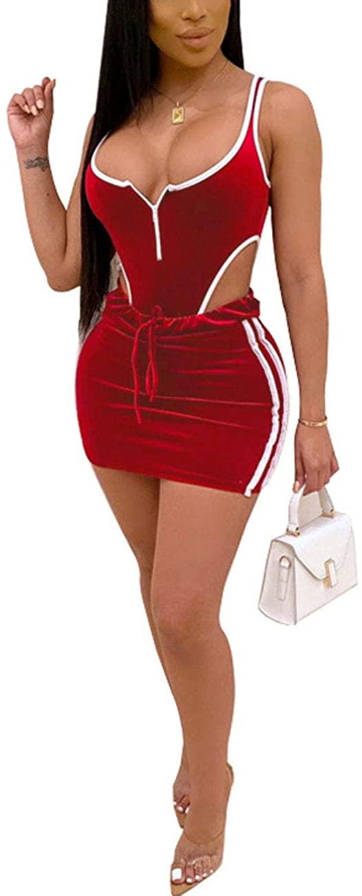 Womens 2 Piece Velvet Outfits- Velour Sleeveless Bodysuit Top Bodycon Mini Skirt Set