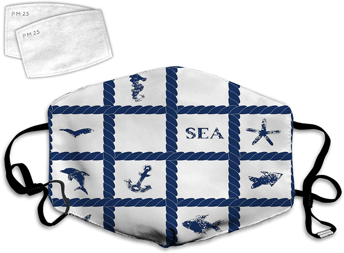 Multi Usage Face Cover UP Navy Yacht Vessel Rope Used as Frame with Starfish Fish and Anchor Image Balaclava Reusable Windproof Mouth Cover with 2 Filter