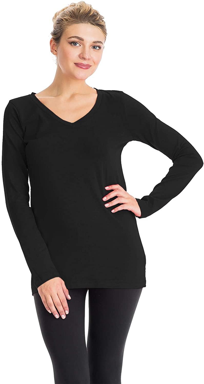 NANAVA Women's Regular Fit Cotton V-Neck Long Sleeve Top Tee Comfy T-Shirts