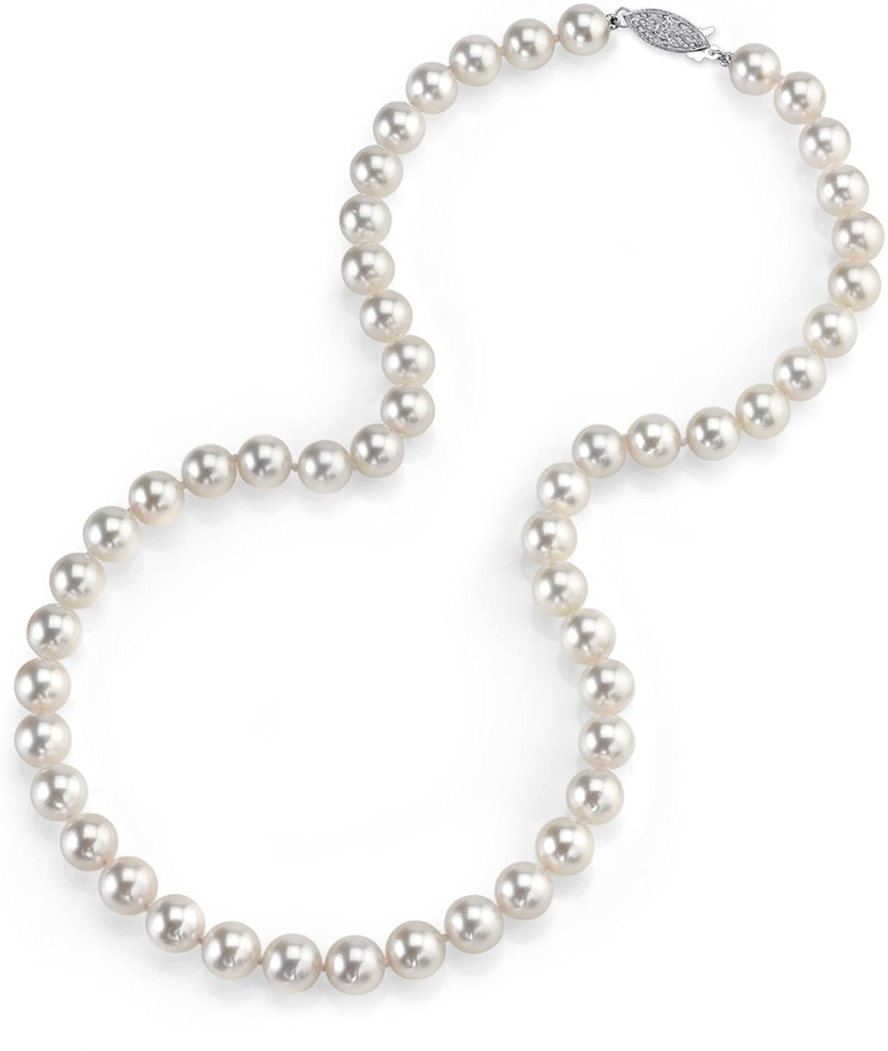 THE PEARL SOURCE 14K Gold 7.5-8.0mm AAA Quality Round Genuine White Japanese Akoya Saltwater Cultured Pearl Necklace in 17