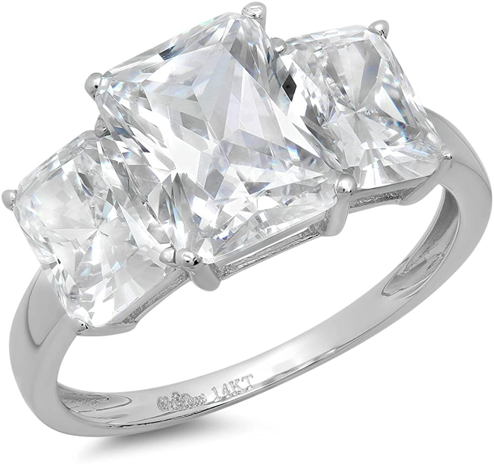 Clara Pucci 4.2 Ct Three Stone Emerald Cut Solitaire Promise Wedding Bridal Anniversary Ring Engagement Wedding Band 14K White Gold