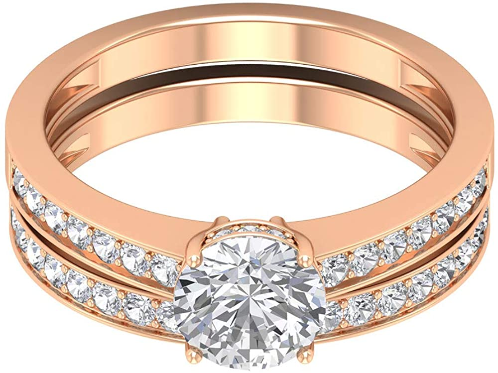 1.55 Ct Diamond Solitaire Engagement Ring, Classic Wedding Eternity Band Gold Ring, SGL Certified Diamond Bridal Ring Set, Unique Women Statement Ring