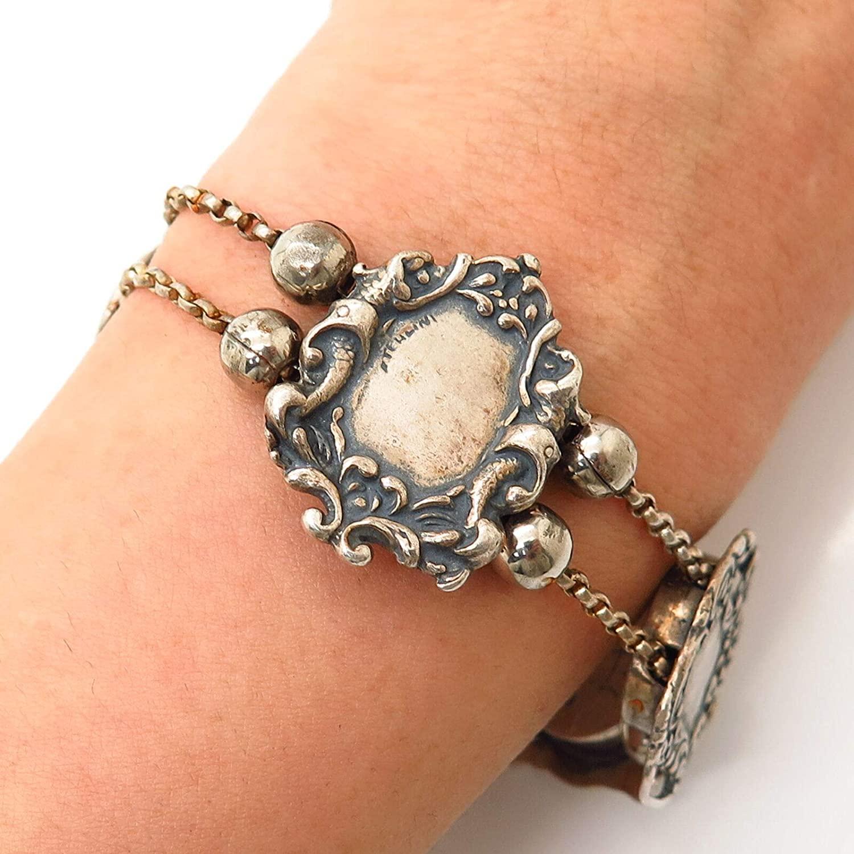 925 Sterling Silver Vintage T. Foree Swirl Medallion Link Bracelet 7
