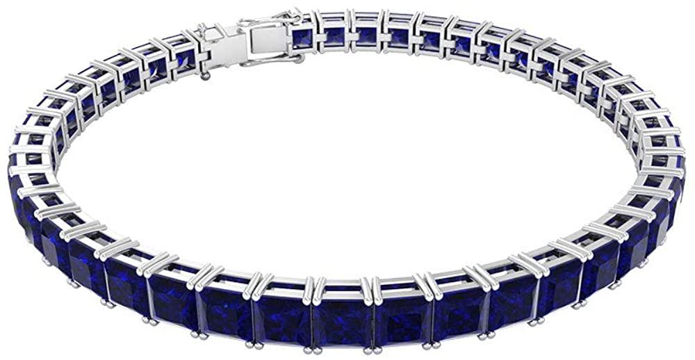 19.35 Ct Certified Sapphire Diffused Charm Bracelet, Statement Tennis Women Bracelet, Princess Cut Gemstone Bracelet, Unique Wedding Bridal Bracelet