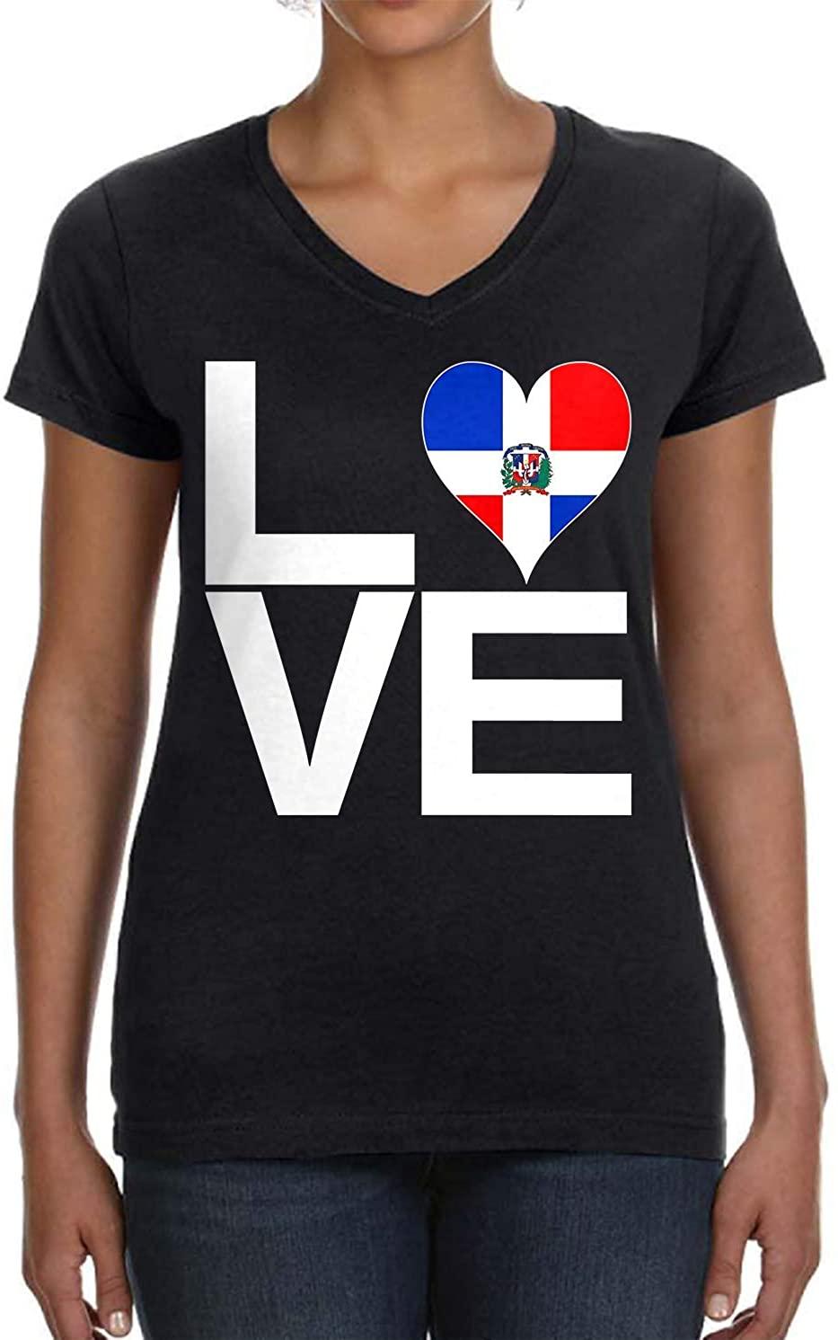 Tenacitee Womens Love Block Dominican Republic Heart V-Neck T-Shirt