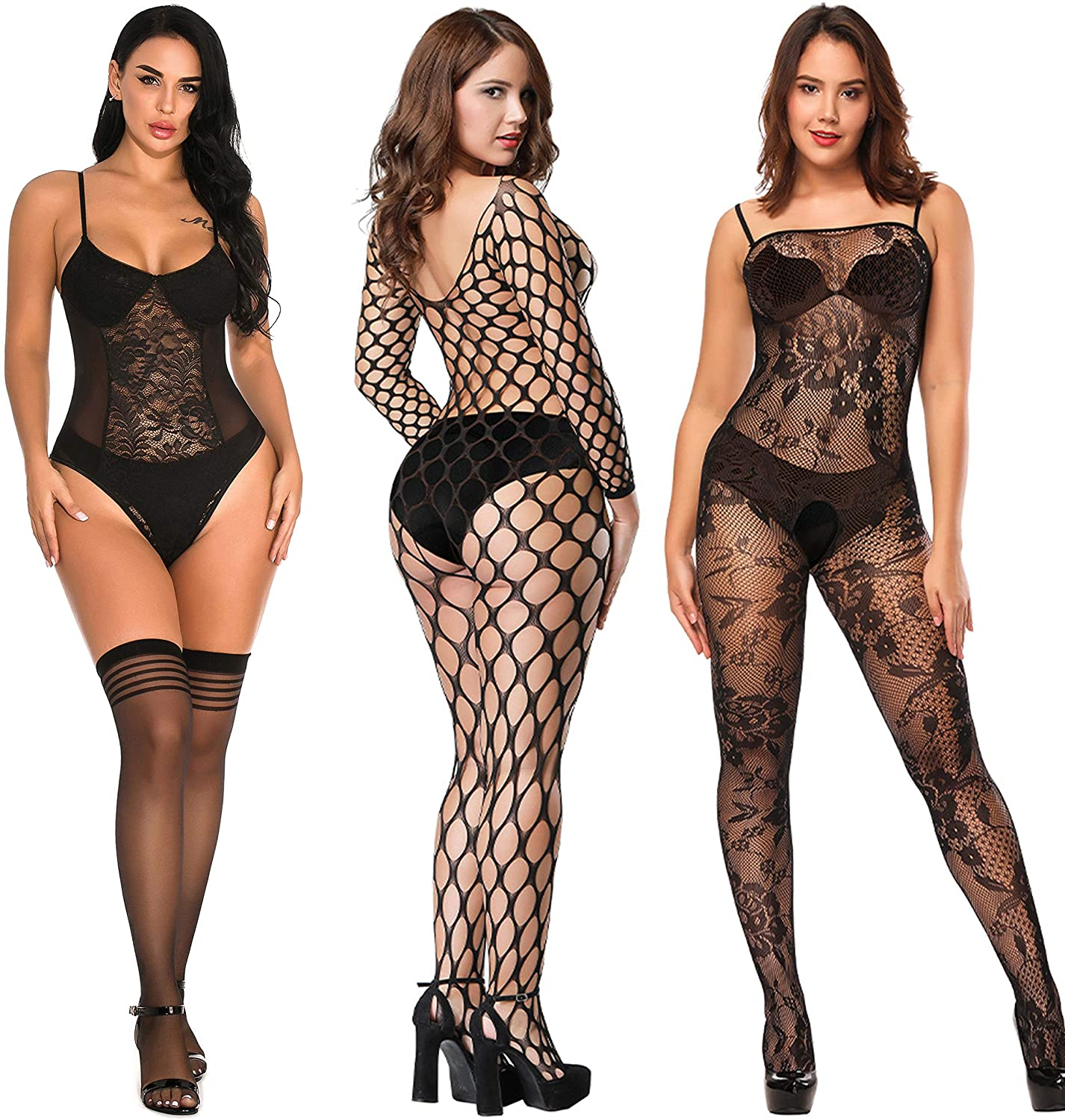 BECHARNY 1 or 2 or 3pcs/lot Women Fishnet Bodystocking Plus Size Striped Mesh Babydoll Mini Dress Chemise