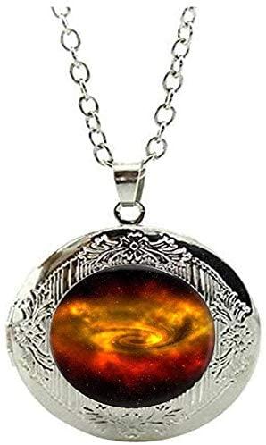 Galaxy Locket Necklace Vintage Charm Jewelry Glass Photo Jewelry