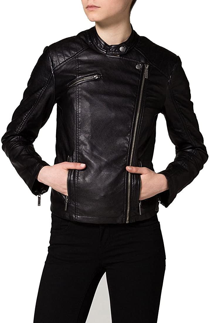 New Women Motorcycle Lambskin Leather Jacket Coat Size XS S M L XL NLT033