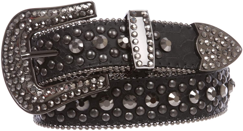 Women's Western Cowgirl Alligator Rhinestone Studded Leather Belt