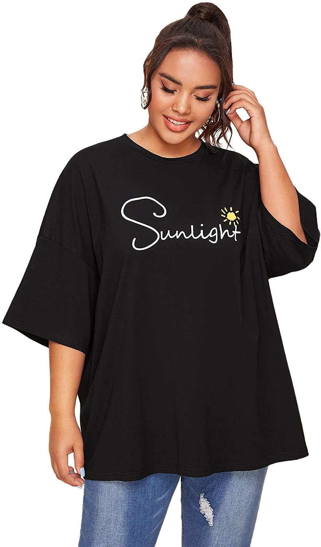 Romwe Women's Plus Size Short Sleeve Casual Letter Sun Print Longline Oversized Cotton Summer Blouse Tops