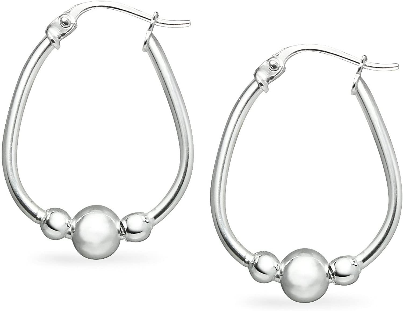 River Island Sterling Silver Beaded Hoop Earrings Small Size 18.5 mm