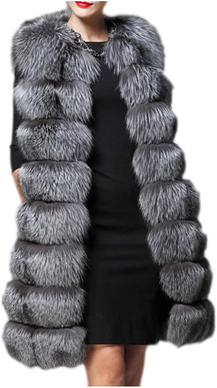 Dawwoti Women's Faux Fur Long Overcoat Thick Vest Sleeveless Luxury Chunky Peacoat for Winter New Year