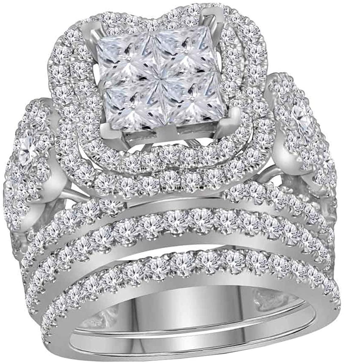 Dazzlingrock Collection 5.02 Carat (ctw) Princess Diamond Bridal Wedding Ring Set 5.00 CT, 14K White Gold