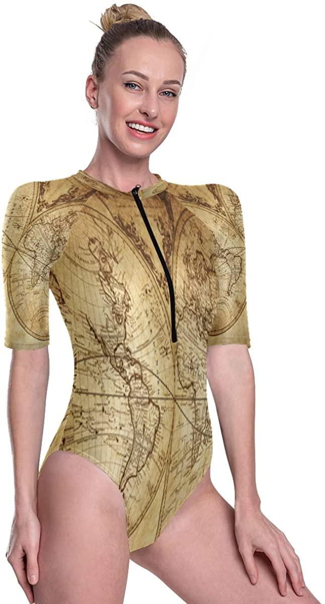 SLHFPX One Piece Bathing Suits for Women Vintage Retro World Map Short Sleeve Swimsuit Swimwear