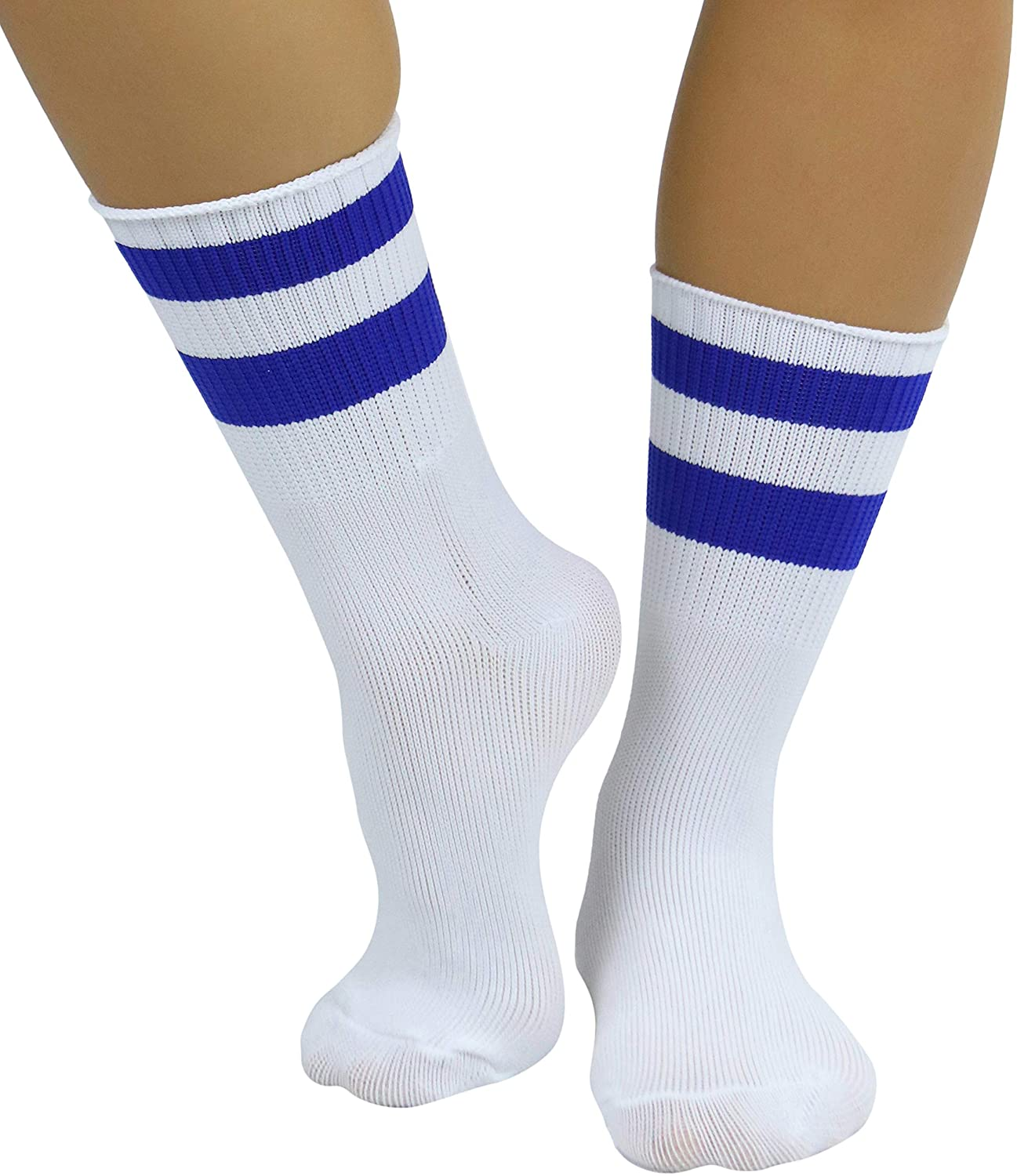 ToBeInStyle Women's Acrylic Ankle Hi With Double Stripe Top Crew Fun Athletic Socks