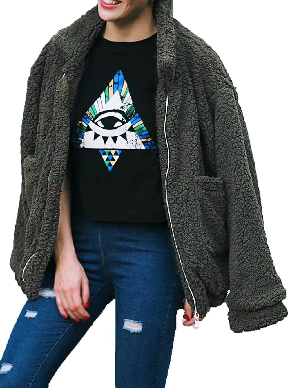 Famulily Women's Faux Shearling Coat Oversized Fleece Lapel Zipper Jacket Outwear with Pockets