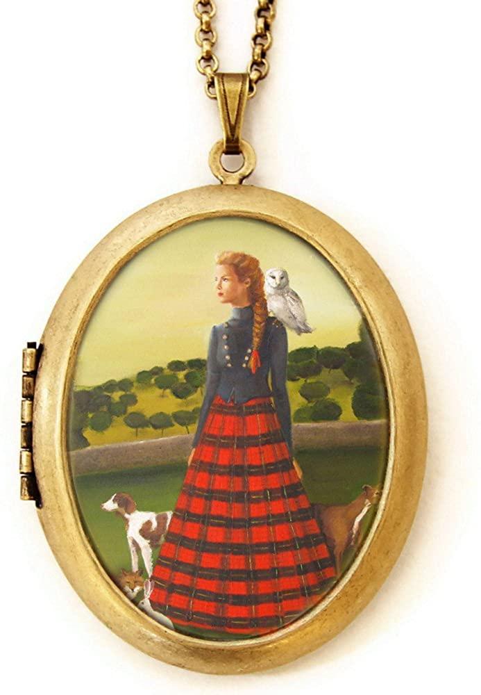 Dearest Mine Women's Brass Plated Deluxe Art Locket Necklace 28 Inches