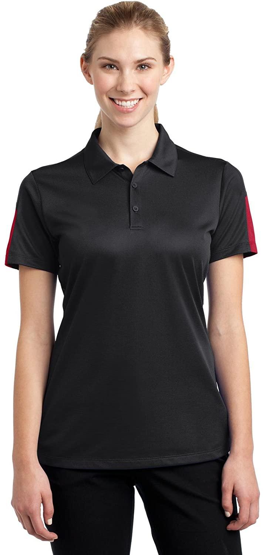 Sport-Tek Ladies PosiCharge Active Textured Colorblock Polo. LST695 Black