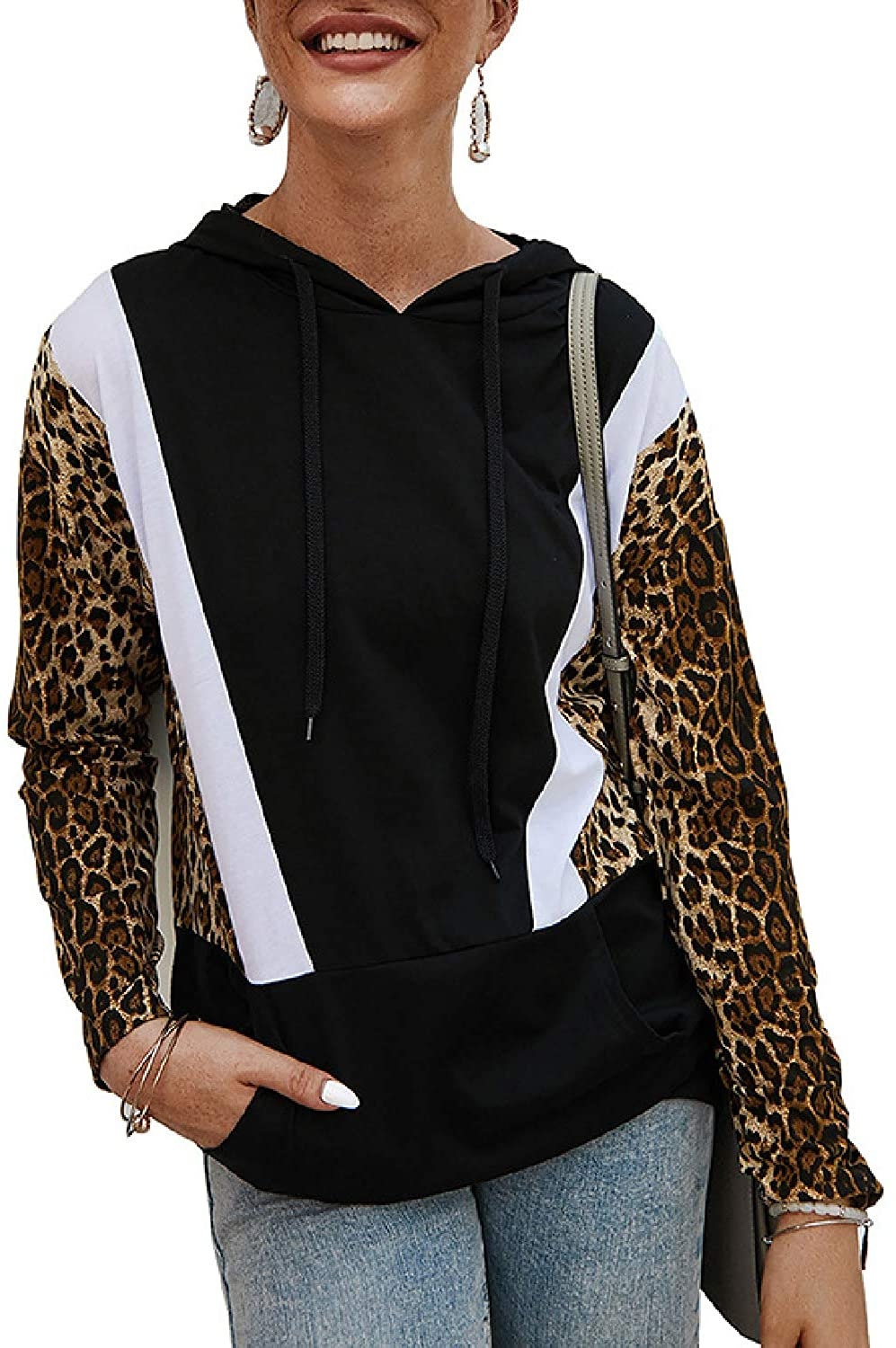 AMELIYA Womens Leopard Stitching Long Sleeve Hooded Drawstring Pullover Tops Sweatshirt with Pocket