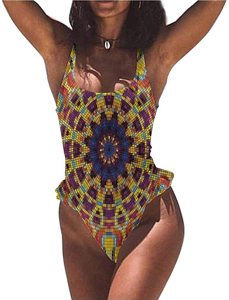 Miki Da Stunning Bathing Suit Yellow, Tile Curvy Figures Soft and Water Resistant