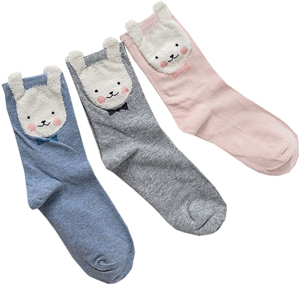 3 Pairs of Teen Girl Cute Rabbit Bunny Cartoon Harajuku kawaii cotton socks
