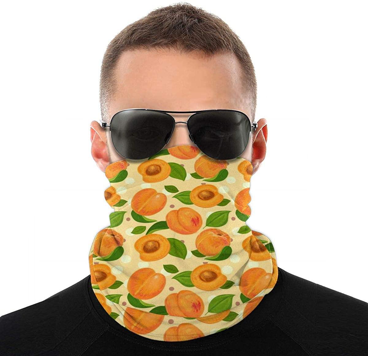 Face Bandana Neck Gaiter Apricot Pattern Sun UV Protection Reusable Half Mask Scarf for Men Women