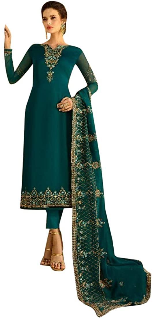 Ethnic Diwali Festive Satin Georgette Churidar Salwar Kameez Indian Muslim Women Suit Custom to Measure dress 8721