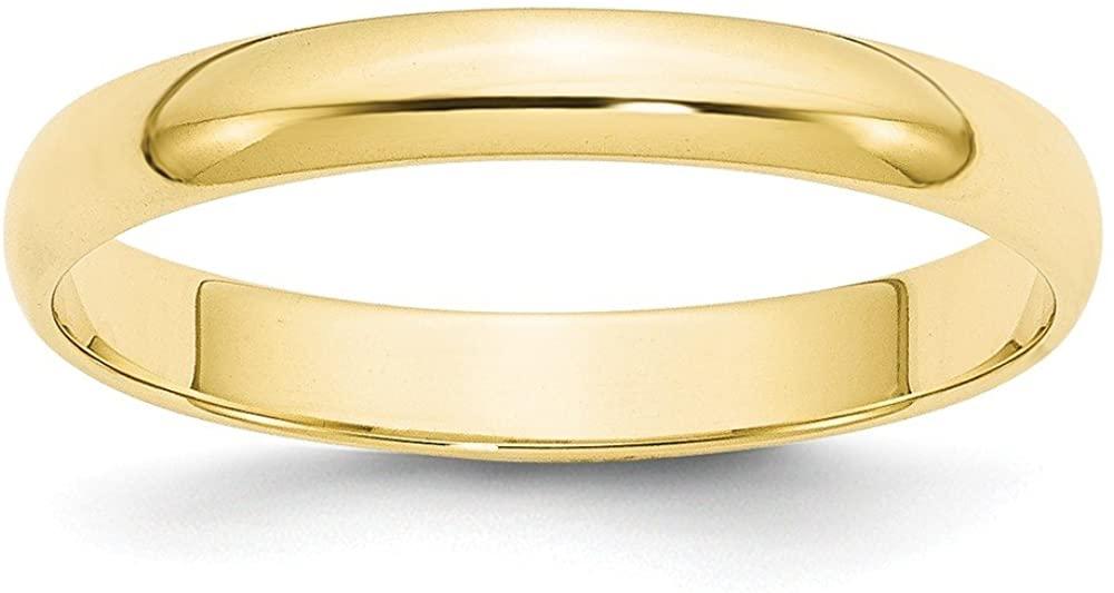10K Yellow Gold 3mm Lightweight Half Round Band Ring