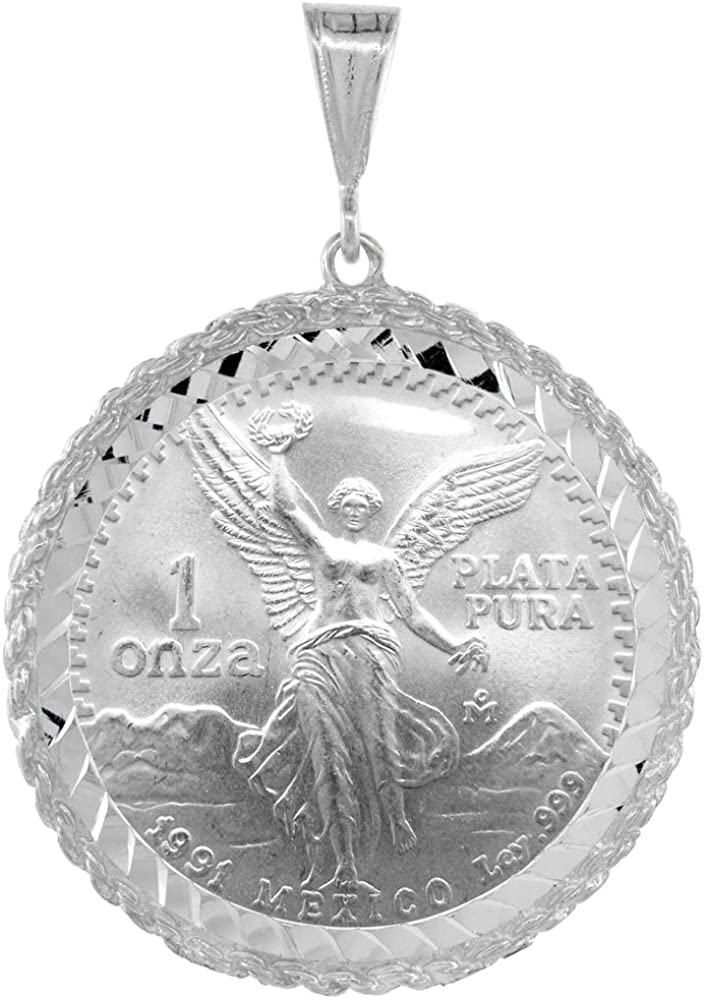 Sterling Silver 1 Onza Plata Libertad Rope Bezel 36 mm Coins Prong Back Diamond Cut Coin NOT Included