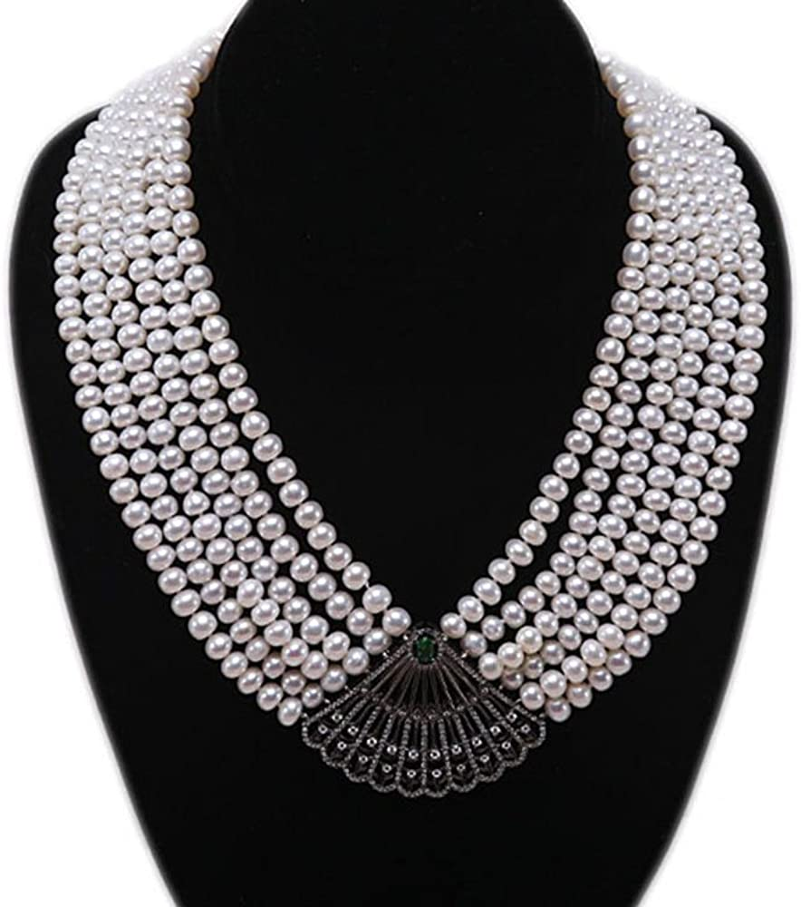 JYX Pearl Necklace for Women Six-Strand 6-7mm Flatly Round White Freshwater Pearl Strand Necklace 16.5-20inch