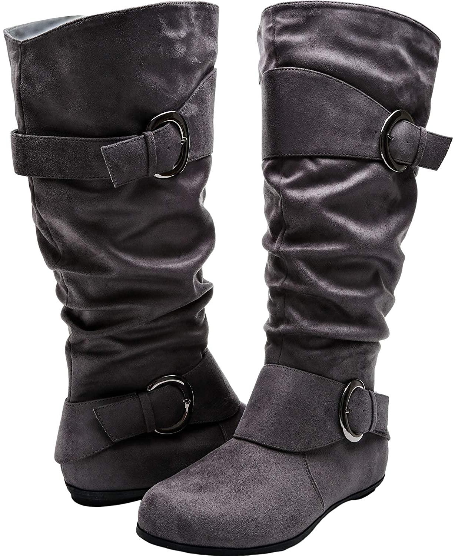 Aukusor Women's Wide Width Mid Calf Boots - Buckle Detail Elastic Zipper Slip on Winter Boots
