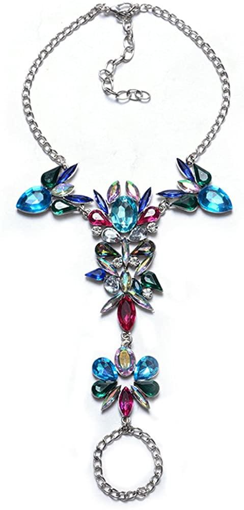 YAZILIND Candy Color Alloy Cubic Zirconia Anklet Women Accessories Bracelet