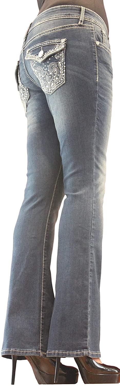 Project Indigo Women Jean Missy Crystal Embroidery Flap Back Pocket Boot Cut PJM162