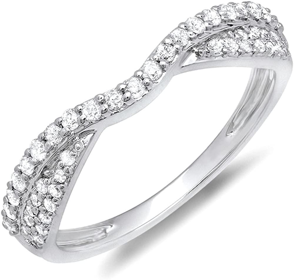 Dazzlingrock Collection 0.32 Carat (ctw) 14K Gold Diamond Ladies Bridal Wedding Stackable Band 1/3 CT