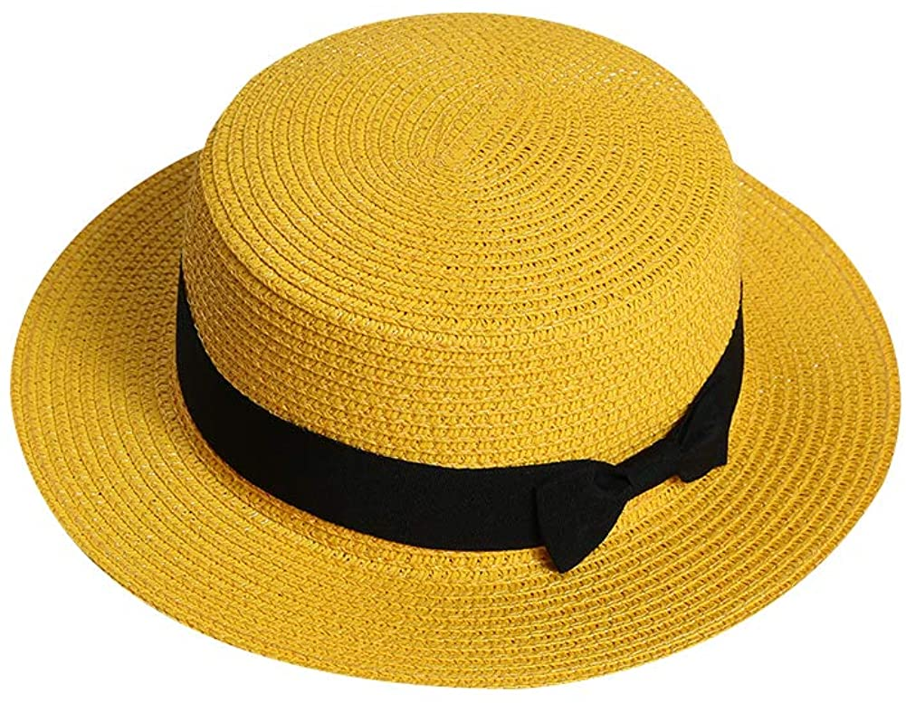 Xiton 1 PC Fashion Large Wing Cap Summer Sun Shade Hat Hipster Wide Brim Straw Hat Travel Beach Holiday Visor Hat For Women Girls (Yellow)