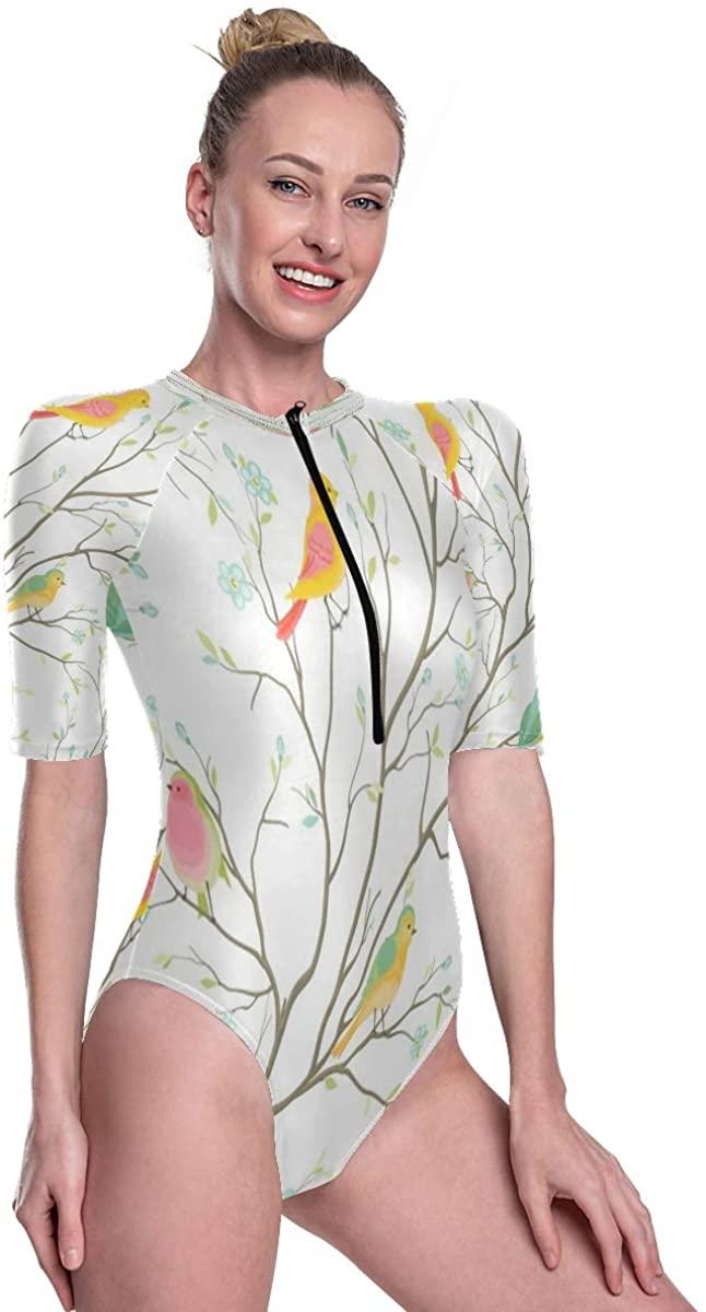 SLHFPX Women's One Piece Short Sleeve Rashguard Surf Swimsuit Animais Brids On The Tree Bathing Suit