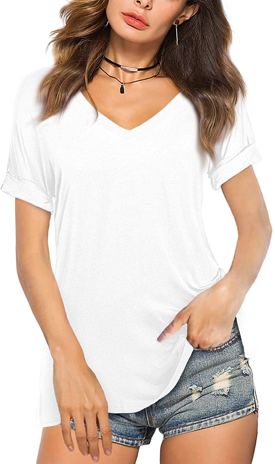Amoretu Womens V Neck Shirts Cuffed Short Sleeve Tunic Top for Summer