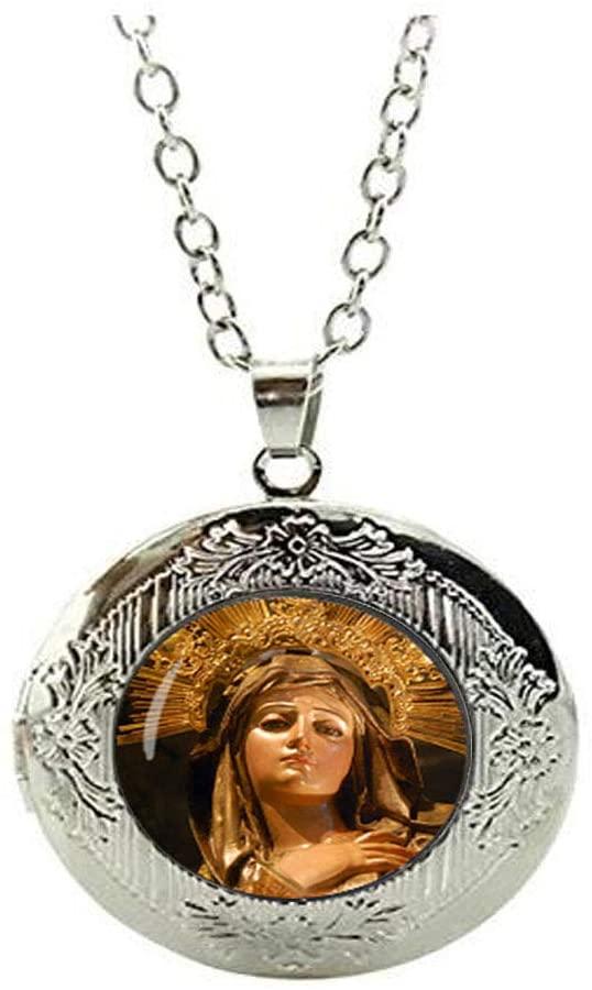 Virgin Mary Locket Necklace Christian Religion Jewelry Glass Photo Charm Jewelry Birthday Festival Gift Beautiful Gift