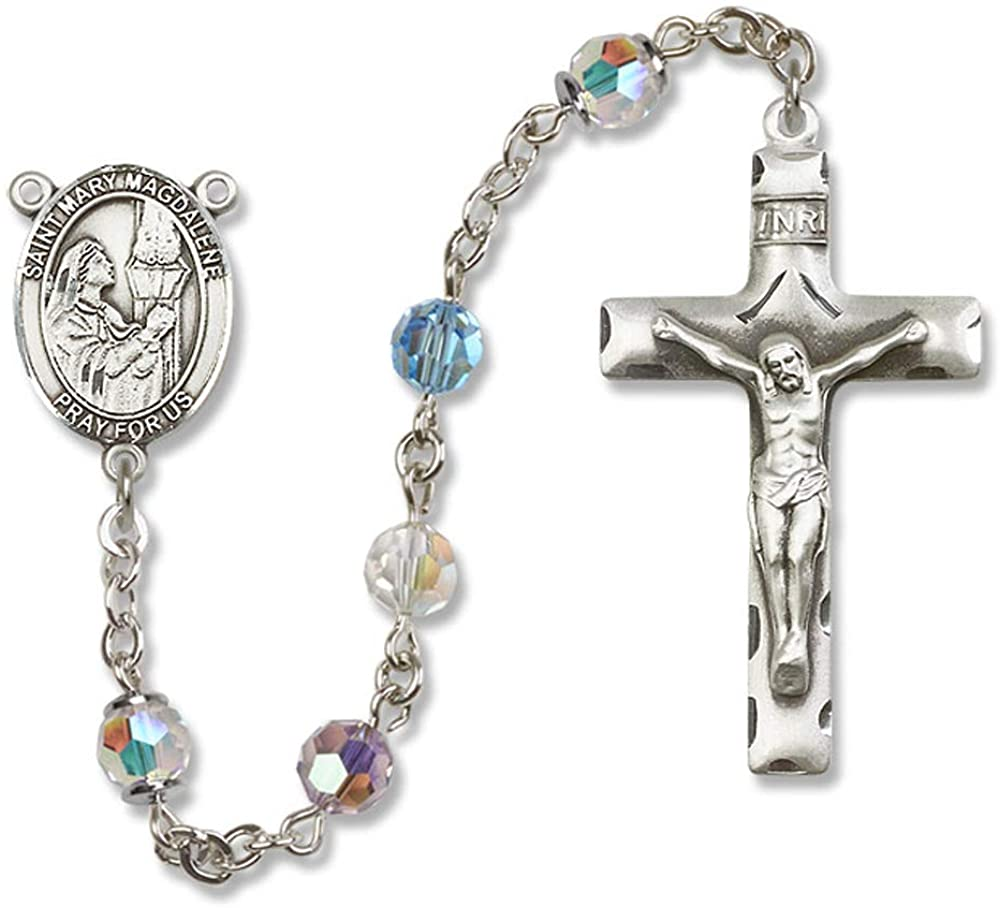 All Sterling Silver Rosary with Multi-Color, 6mm Swarovski, Austrian Tin Cut Aurora Borealis Beads. St. Mary Magdalene Center is the Patron Saint of Sexual Temptation/Penitent Sinn