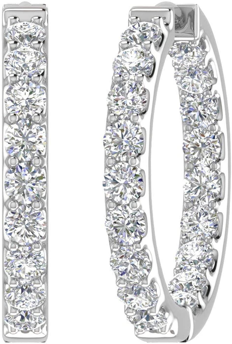 3 Carat to 4 Carat Diamond Inside Out Hoop Earrings in 14K Gold