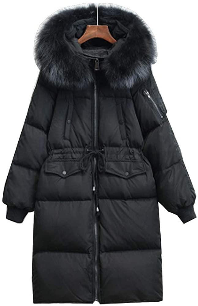 LUCKIN Women Down Coat Goose Down Hooded Faux Fur Winter MID Length Jacket