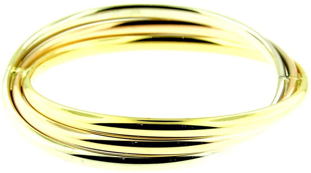 14 Kt Tri Color White Rose & Yellow Gold Bangle Bracelet