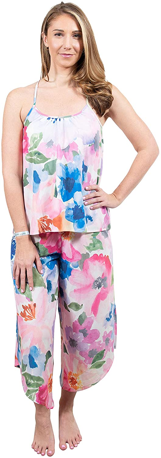 Lounge Vita Women's Loungewear Cami/Gaucho Pant Set, Comfortable Lounge Wear for Every-day in Soft Fabric, Sizes XS-XXL