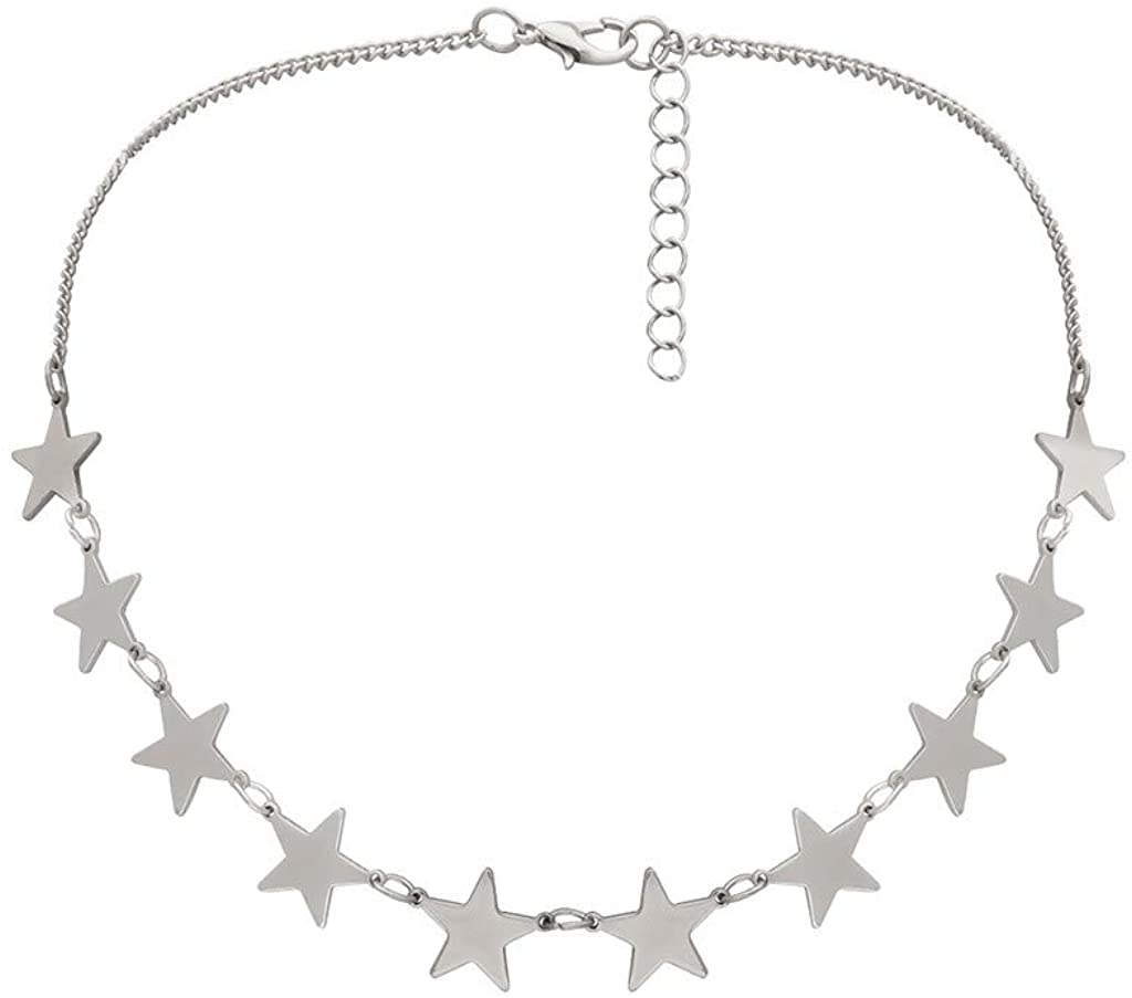 Nmch Women's Metal Star Necklace Vintage Golden Large Chain Choker Jewelry Fashion Gift