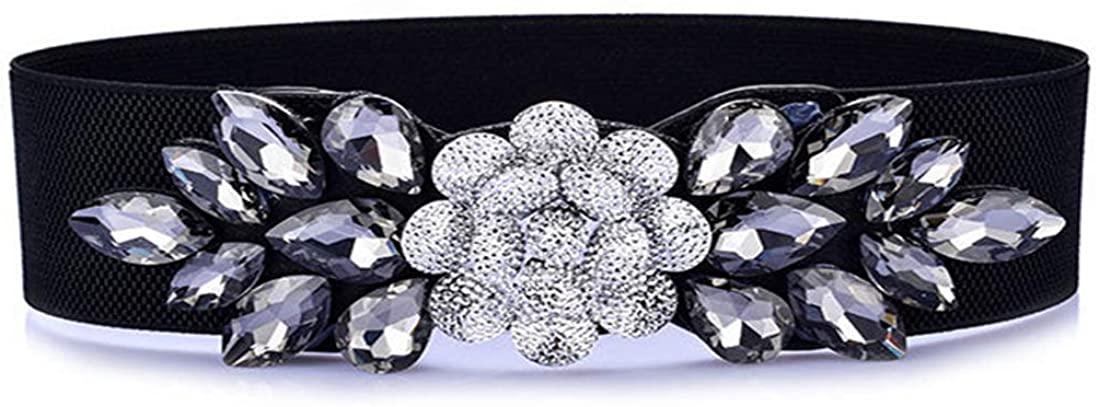 Globalwells Fashion Floral Rhinestone Buckle Women's Elastic Waist Cinch stretch Belt for Dress