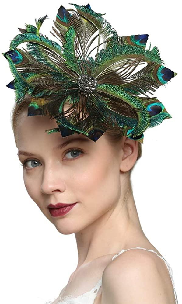 VIMARO Peacock Fascinator Hat, Peacock Fascinators for Women, Tea Party Kentucky Derby Hats for Women