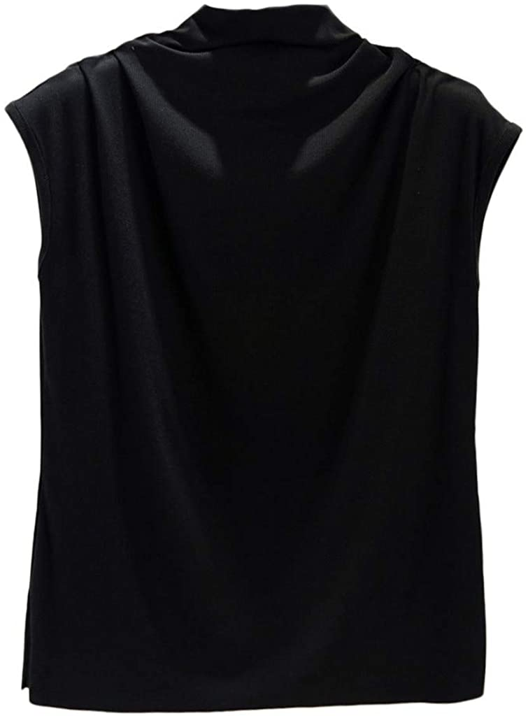 AOJIAN Women's T Shirt Sleeveless Shirts Tunic Turtleneck Solid Elegant Blouse Tanks Vest Tops