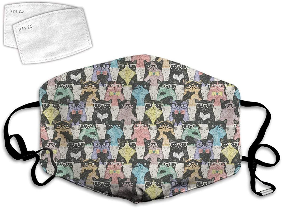 Multi Usage Face Cover UP Theme of Playful Hipster Cats with Glasses Colorful Dotted Designed Print Balaclava Reusable Windproof Mouth Cover with 2 Filter