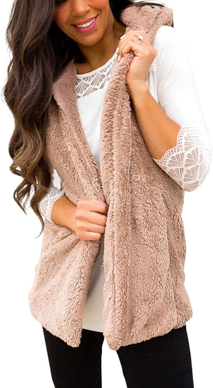 Yacun Women Fleece Vest Faux Fur Hooded Open Front Gilet Coat Outerwear
