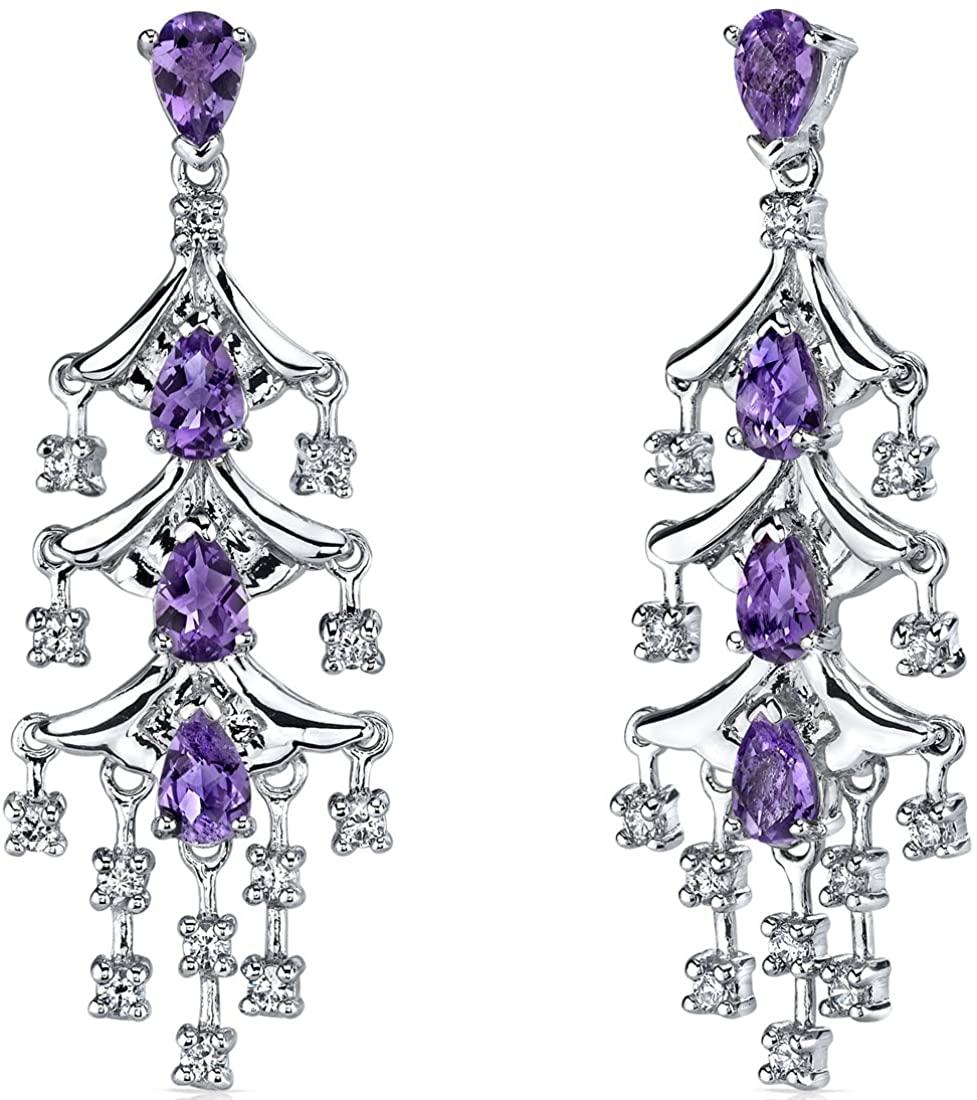 Peora Amethyst Chandelier Dangle Earrings in Sterling Silver, Pear Shaped, 4 Carats Total, Friction Backs